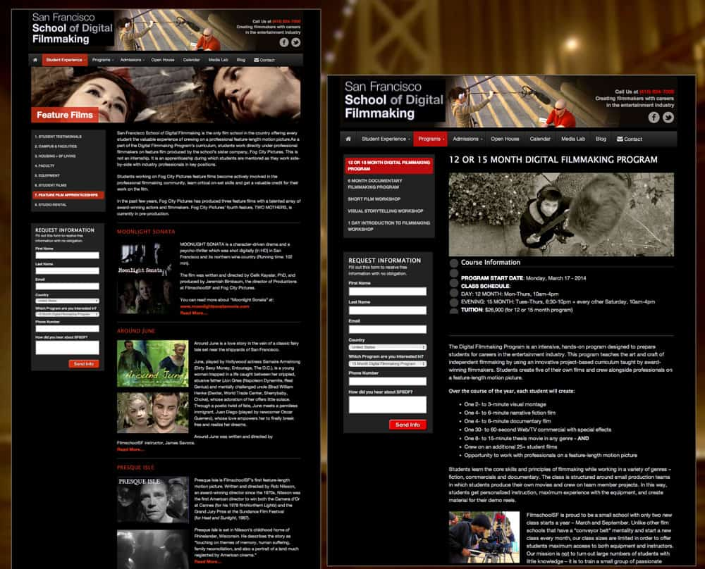 San Francisco School of Digital Filmmaking Website